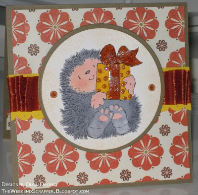 Handmade stamped card using Penny Black A Gift For You Hedgehog stamp colored with Copic markers