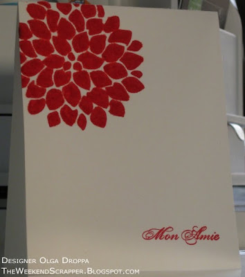 Stamped card with Fabulous Flowers set, covered with red flocking to give soft and fuzzy appearance