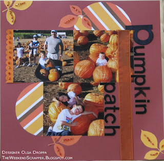 Scrapbook pumpkin patch layout 12x12 with fall leaves and beads