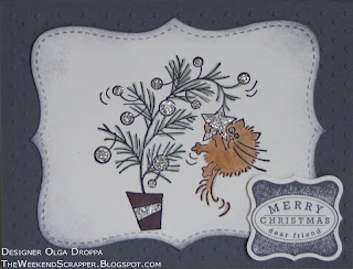 Stamped Christmas cards using Stampin'Up! vintage violet paper and Fluffles stamp