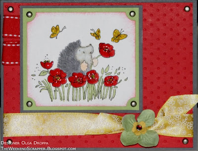 Stamped card with Penny Black Poppy Fields hedgehog impage