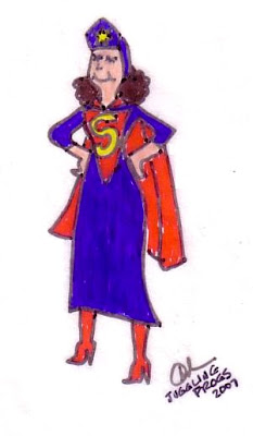 SuperMom drawing by Juggling Frogs 2007