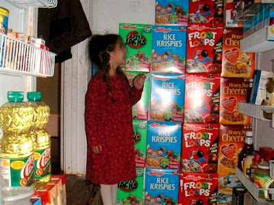 Emily in 2004 with the Wall o'Cereal after a big Kellogg's sale