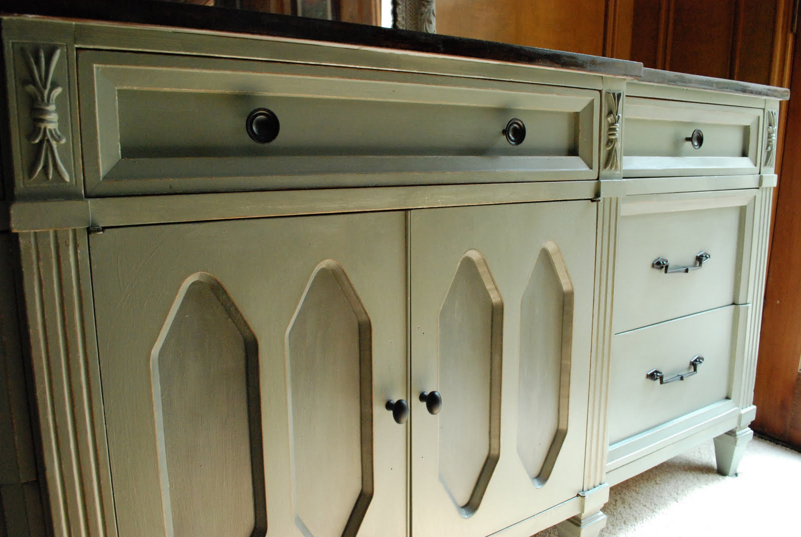 Remodelaholic | Wooden Dresser Painted Green; Furniture Redo