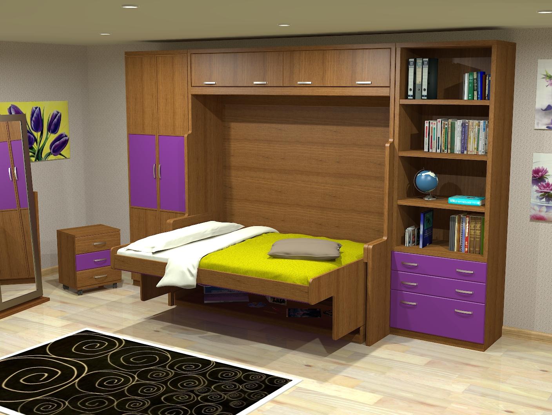 Cama mesa abatible camas autoportantes cama con for Diseno de libreros para espacios pequenos