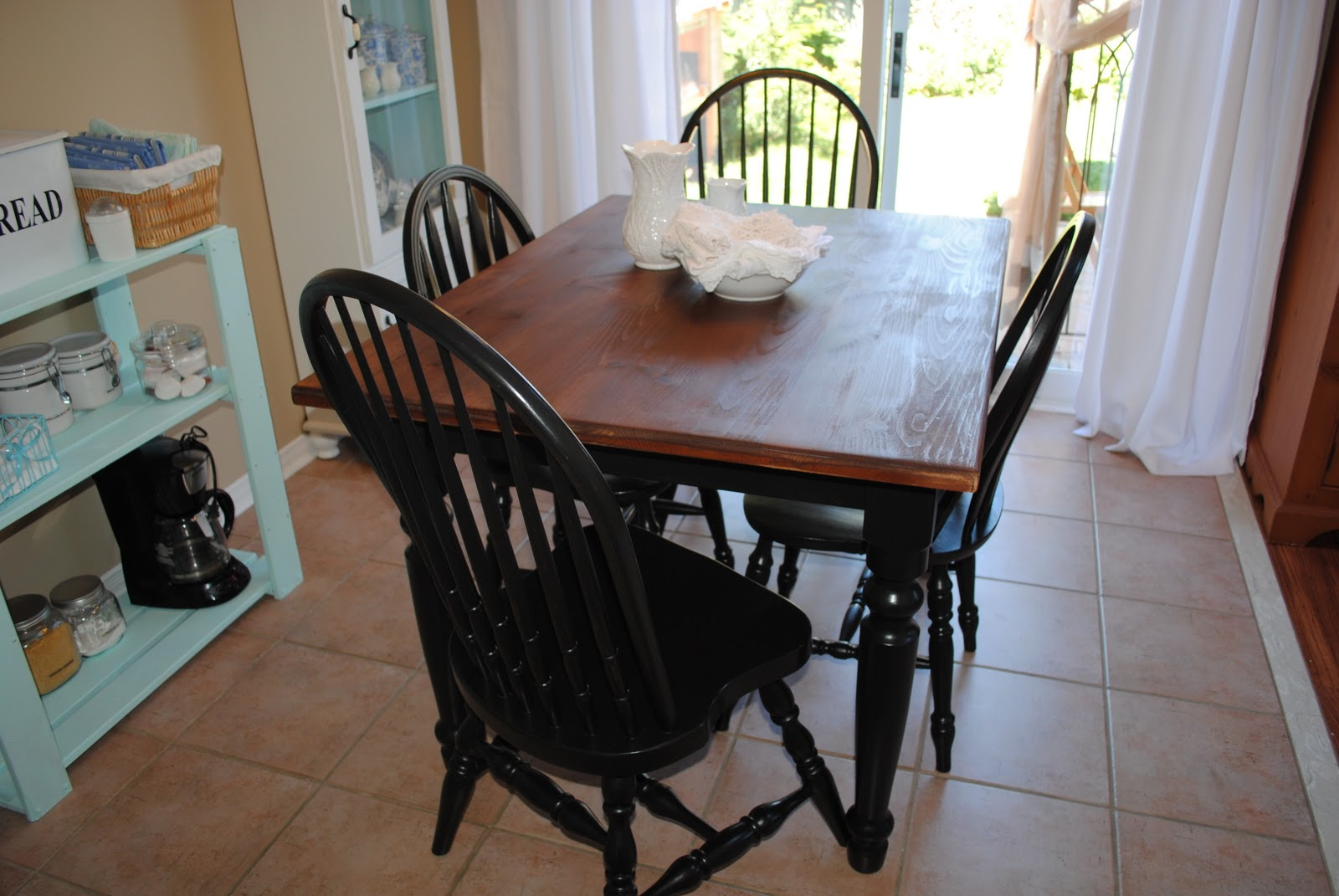 Painted farmhouse table and chairs - I Also Like Mixing Black With Plain Or Scrubbed Pine Like In Our Dining Room While This Is Too Country For Some It Really Appeals To Me