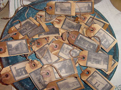 Primitive Log Cabin Hang tags set of 12
