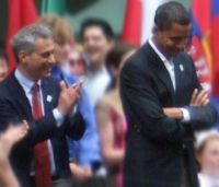 Obama and Rahm Emanuel at a rally