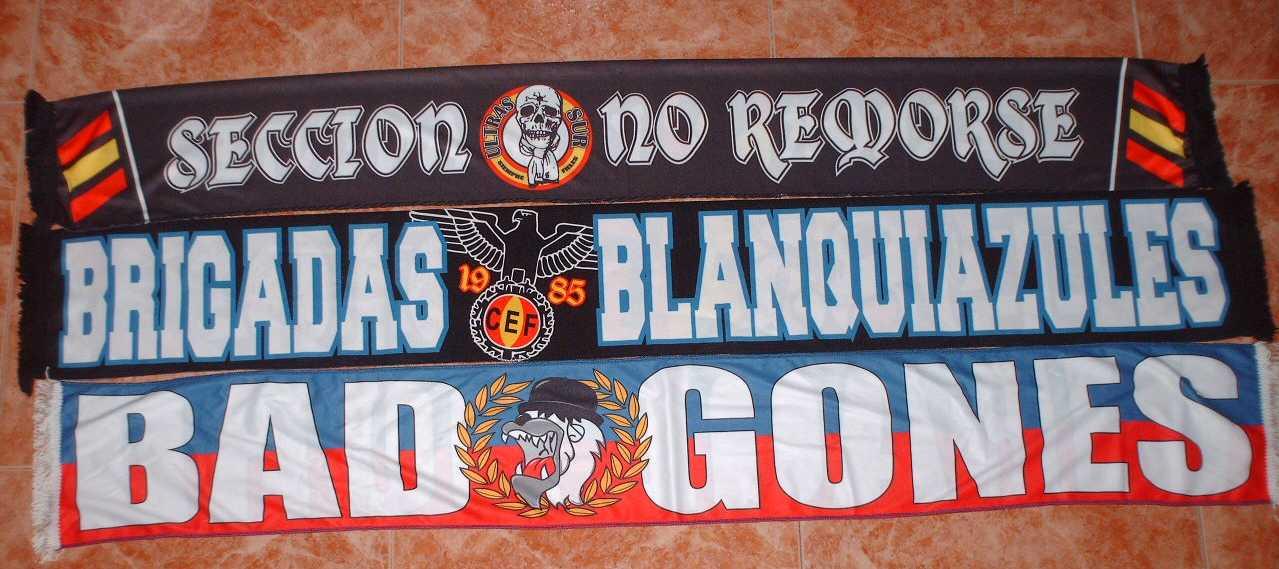 BUFANDAS EN RASO (Ultras Sur Secc. No Remorse, Brigadas Blanquiazules Español, Bad Gones Lyon)