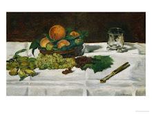 Frutas uvas, melocotones y almendras Manet