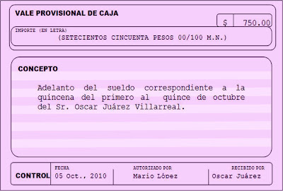 vale de caja:
