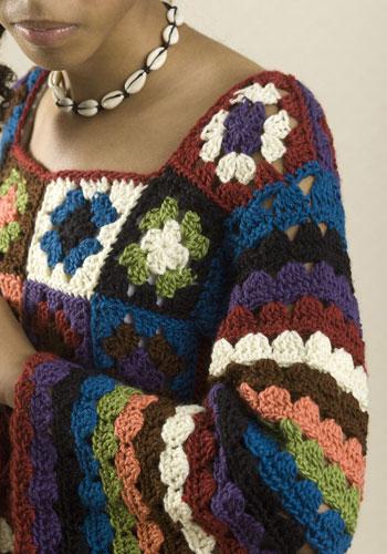 Tığ işi renkli örgü bayan kazak modeli