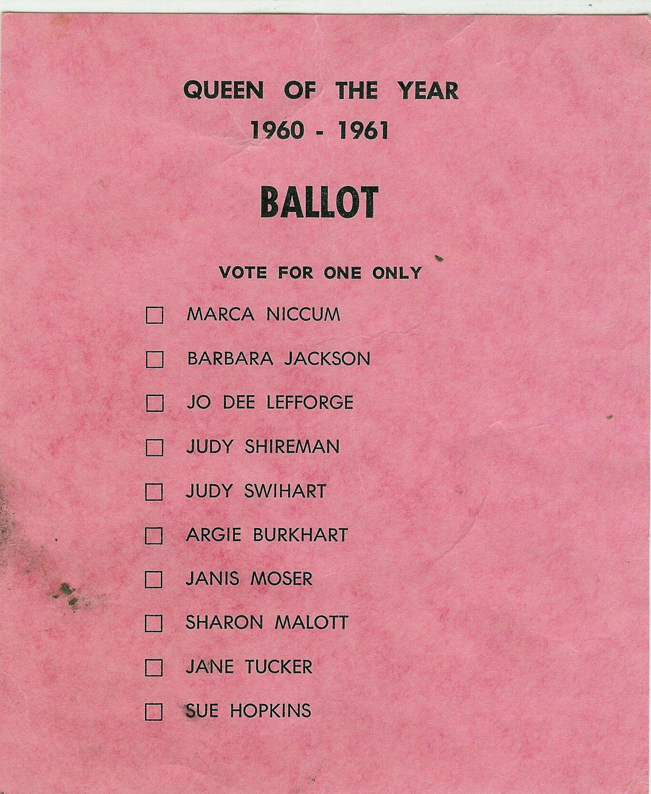 [Queen+of+the+Year+1960+Ballot]
