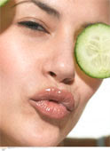 puffy eyes-use cucumber slices