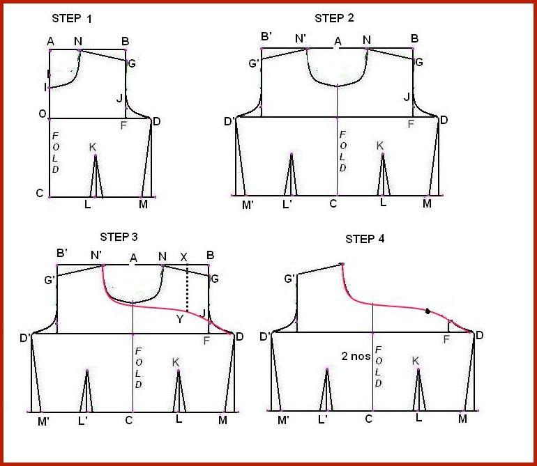 """Keep A-C on Fold. A-C = Waist length + ½""""."""