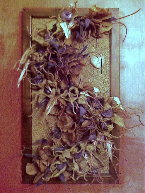 quadro con rose  e foglie in filo pirkka