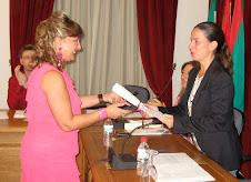 RECOGIENDO EL PREMIO. SEP. 2009