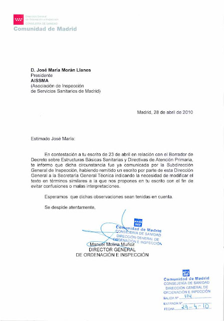 Carta del Director General de Ordenacin e Inspeccin