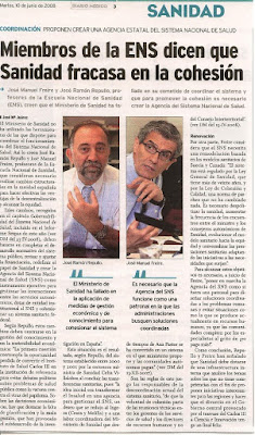 J.R. Repullo y J.M. Freire; Declaraciones sobre La Cohesin Sanitaria (Diario Mdico, 10/06/08)