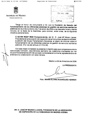 Fax de la Asamblea de Madrid invitando a comparecern ante la Comision de Estudio de Sanidad. Hacer clic para agrandar.