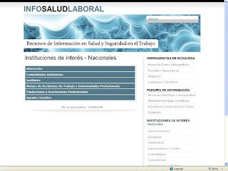 Web InfoSaludLaboral, Pgina del Bloque Temtico Instituciones de Inters.