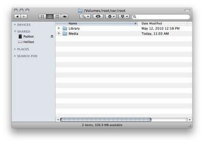 système de fichiers de l'IPAD