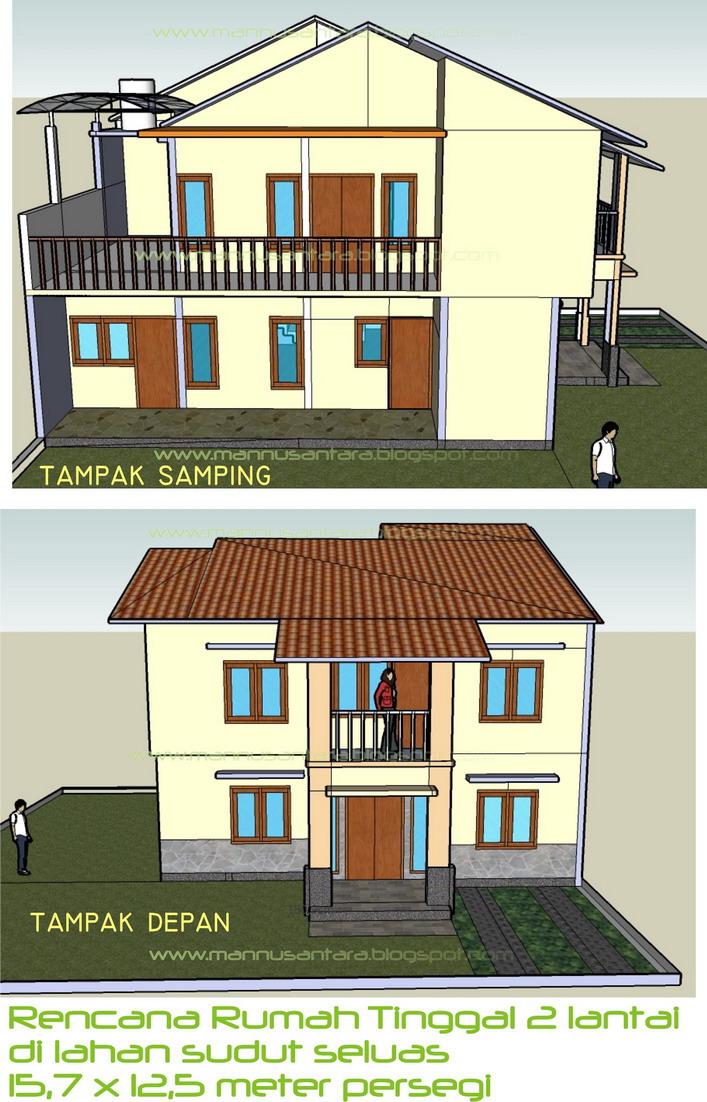 Desain Bangunan Rumah Tinggal 2 Lantai