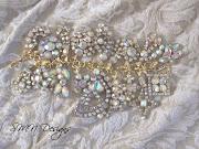 Aurora Borealis Vintage Bling Charm Bracelet