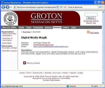 click here for Full Size image of DigitalMediaMagik.com's page on the Town of Groton (Mass) web site