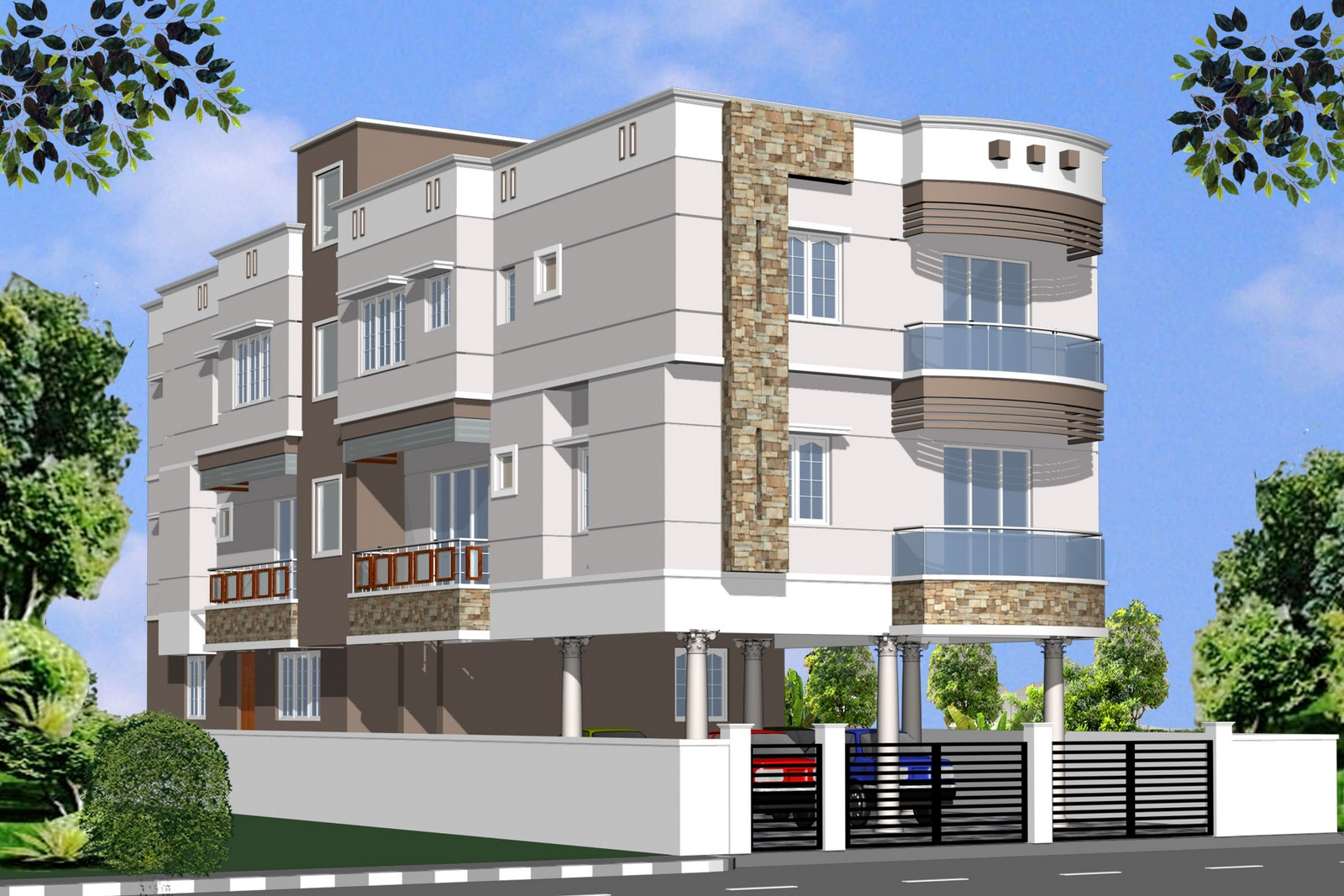 Indian residential building elevation joy studio design 3d house building