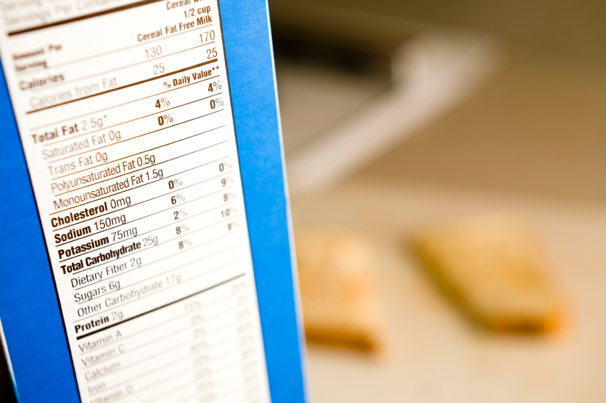 food labels with ingredients. on the food label and