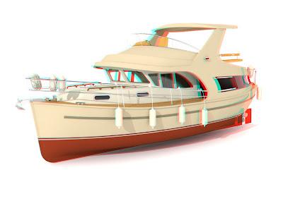 jacht Ramona 37 3D: red cyan anaglif, obrazy 3D