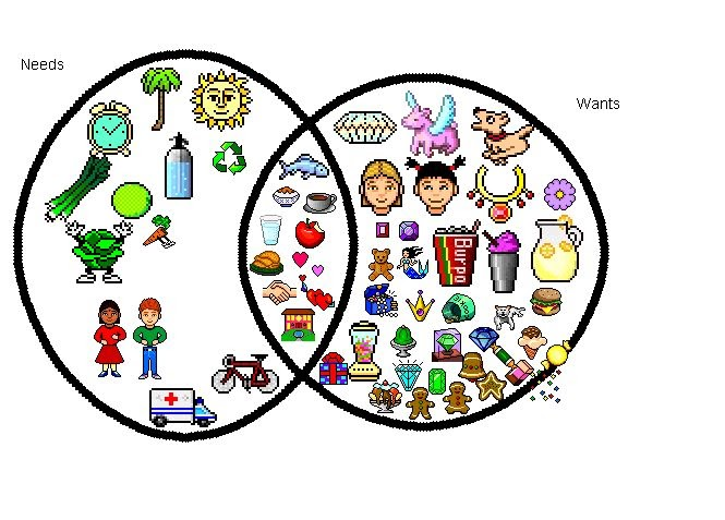 guess what   venn diagram for my wants and needs