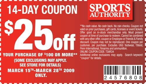through the Internet and Sports Authority coupons for sporting goods are