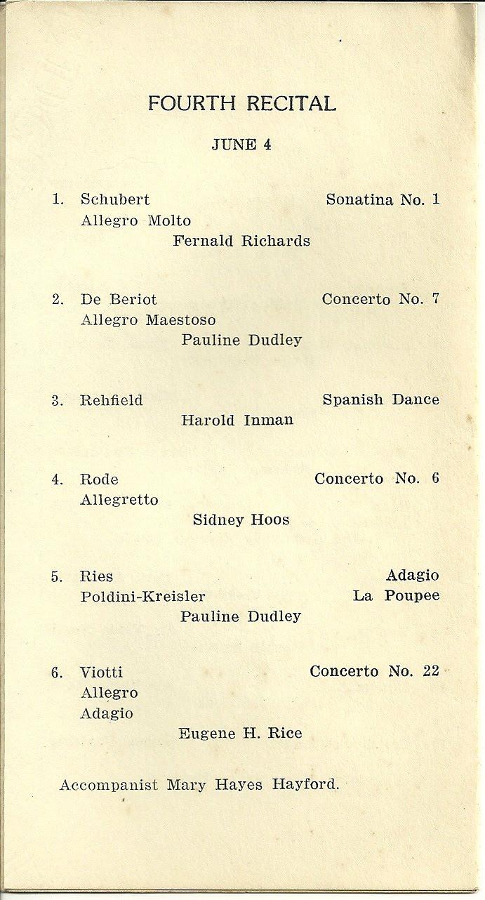 heirlooms reunited program for 4 days of violin recitals by pupils