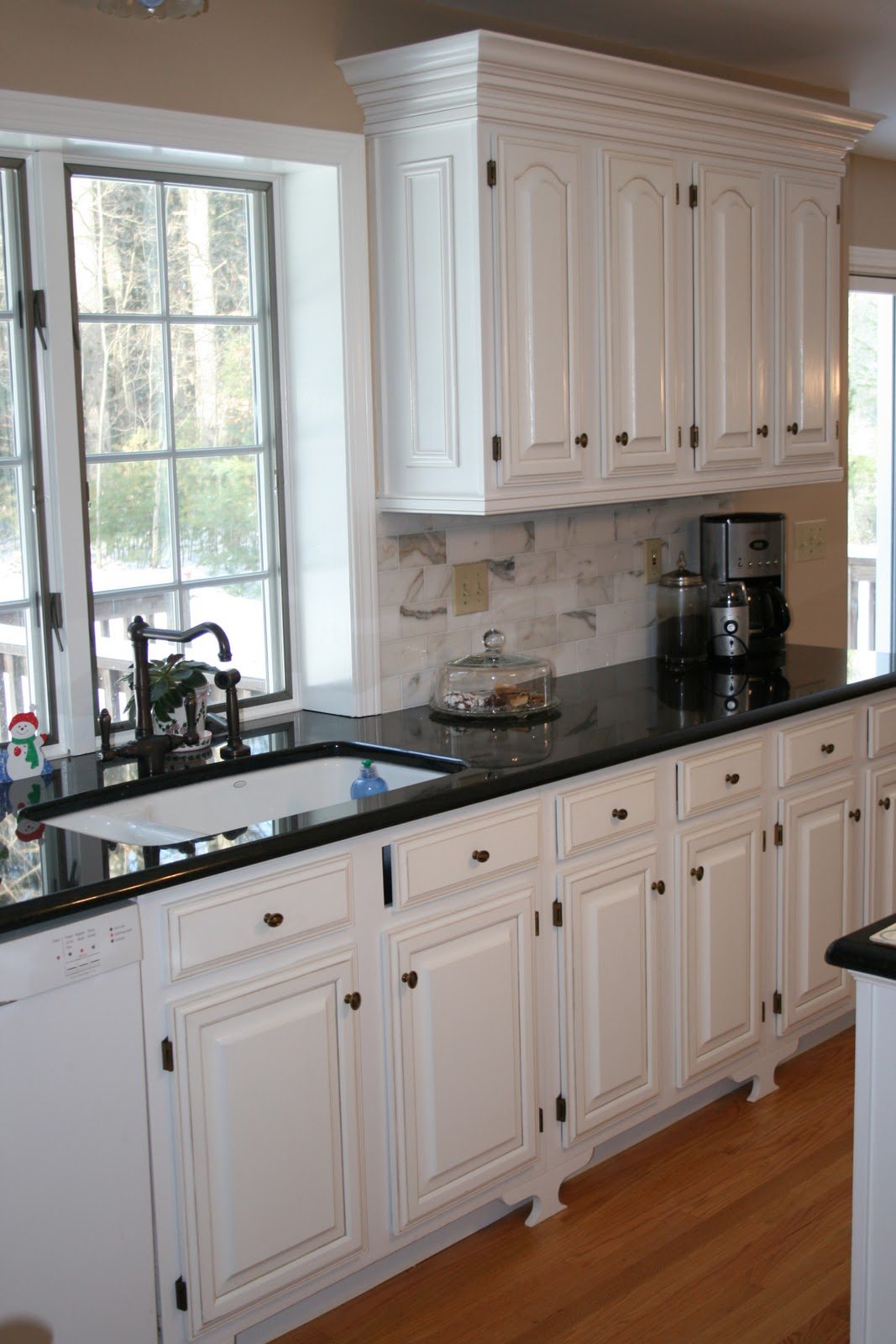 Black White Kitchen Cabinets with Molding