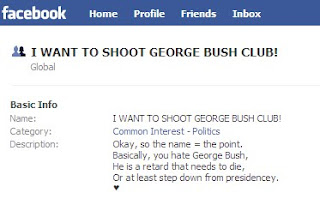 Facebook: I Want to Shoot George Bush Club