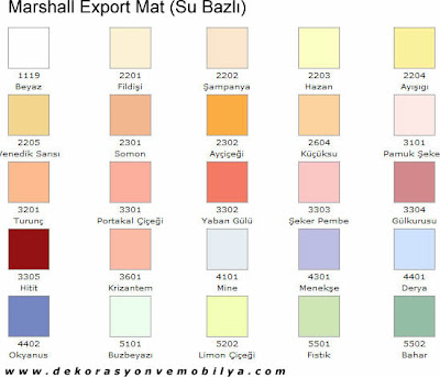 Marshall Export Mat Renk Katalogu