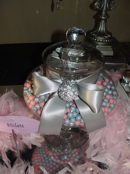 Pink and Silver Candy Buffet