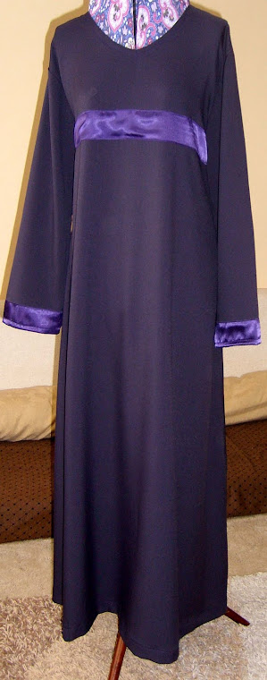Purple Belted Abaya and Cuff