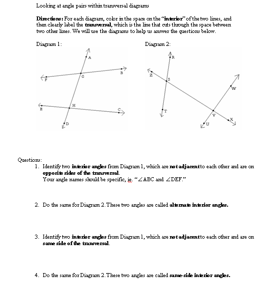 I Hope This Old Train Breaks Down All About Angles – Transversal Worksheet