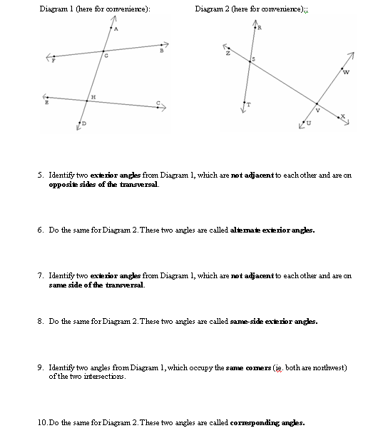 Worksheets Transversal Angles Worksheet transversal angles worksheet delibertad delibertad