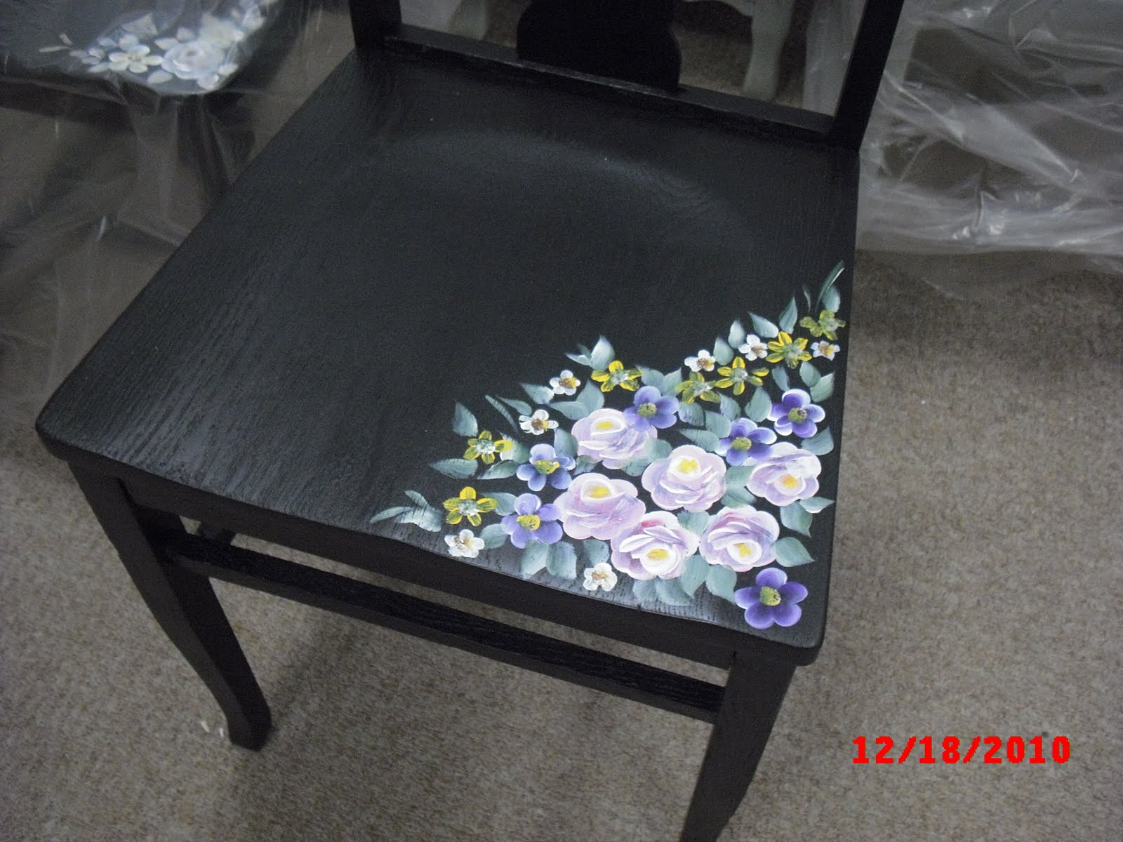 HAND PAINTED VINTAGE ANTIQUE FURNITURE CHAIRS