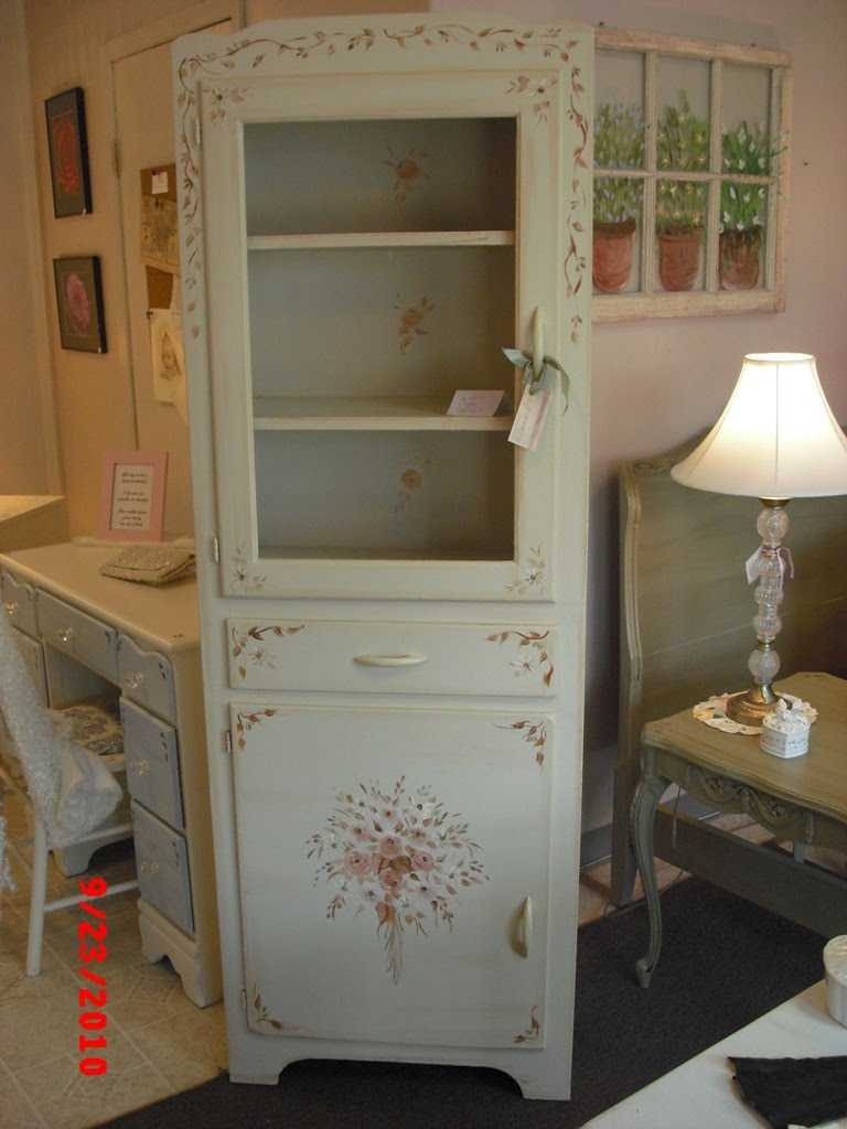 Vintage Pantry Cabinet With Handpainted Furniture Blog, Shabby Chic Vintage  Painted Furniture With Pantry Cabinet