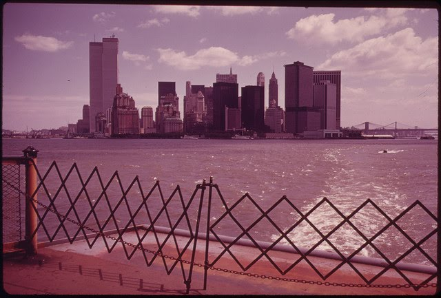 The U.S. National Archives - New York Skyline from Staten Island Ferry 05-1973