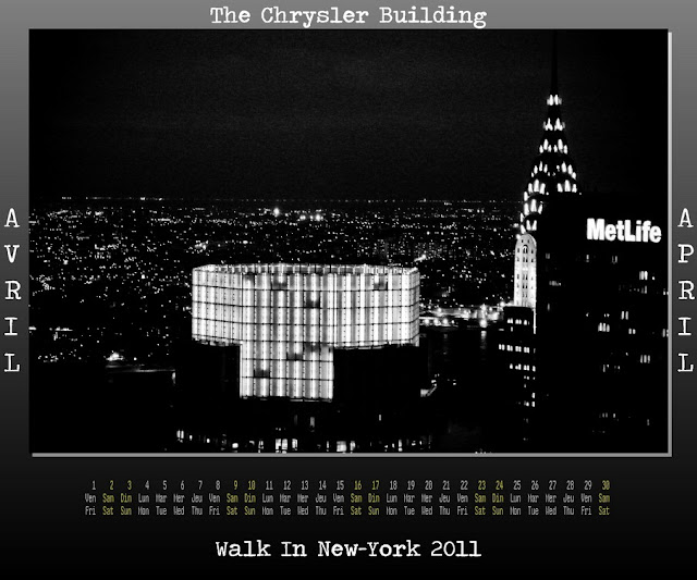Calendar New York 2011 - 04 April 2011 - Top of The Rock - Chrysler Building