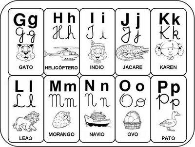 Alfabeto com as famílias