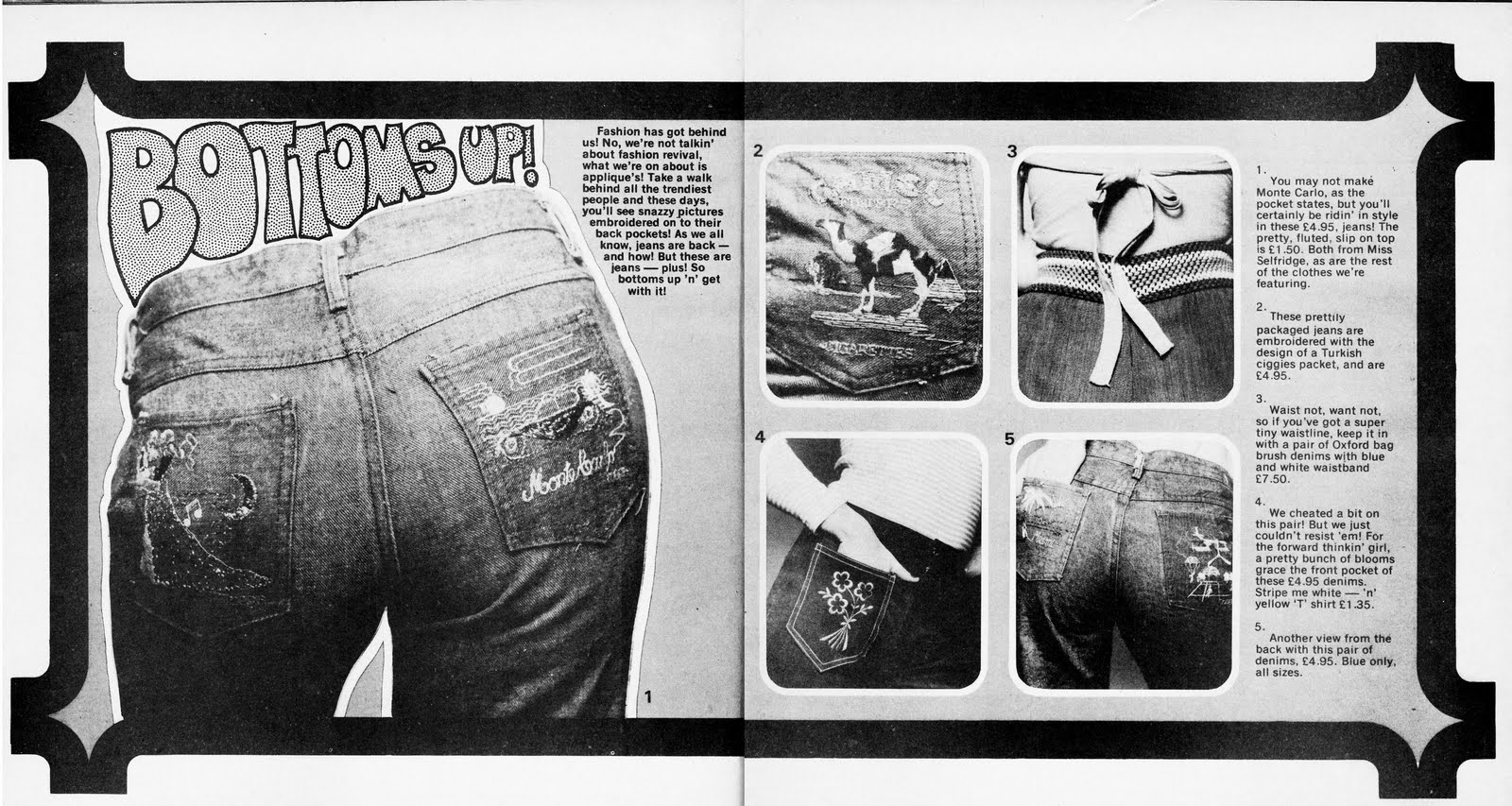 70s Fads retro dundee: denim pocket pictures - early 70's