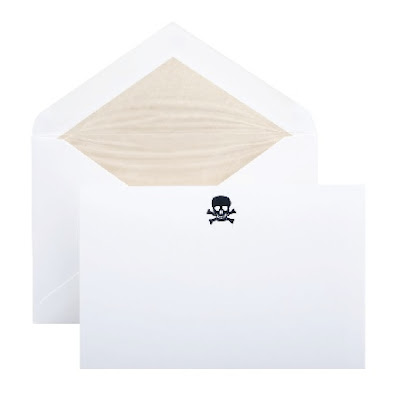 smythson notecards with skull and crossbones motif