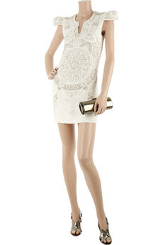 balmain embroidered mini dress